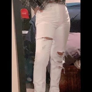 White ripped Mom Jeans